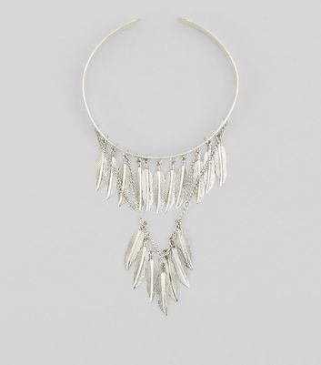 Silver Layered Feather Arm Cuff New Look