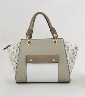 White Floral Detail Pocket Front Bowler Bag New Look
