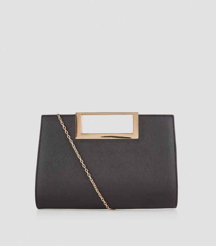 378a8b8e5 Black Metal Trim Handle Clutch Bag | New Look