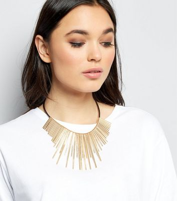 Gold Staggered Bar and Rope Necklace New Look