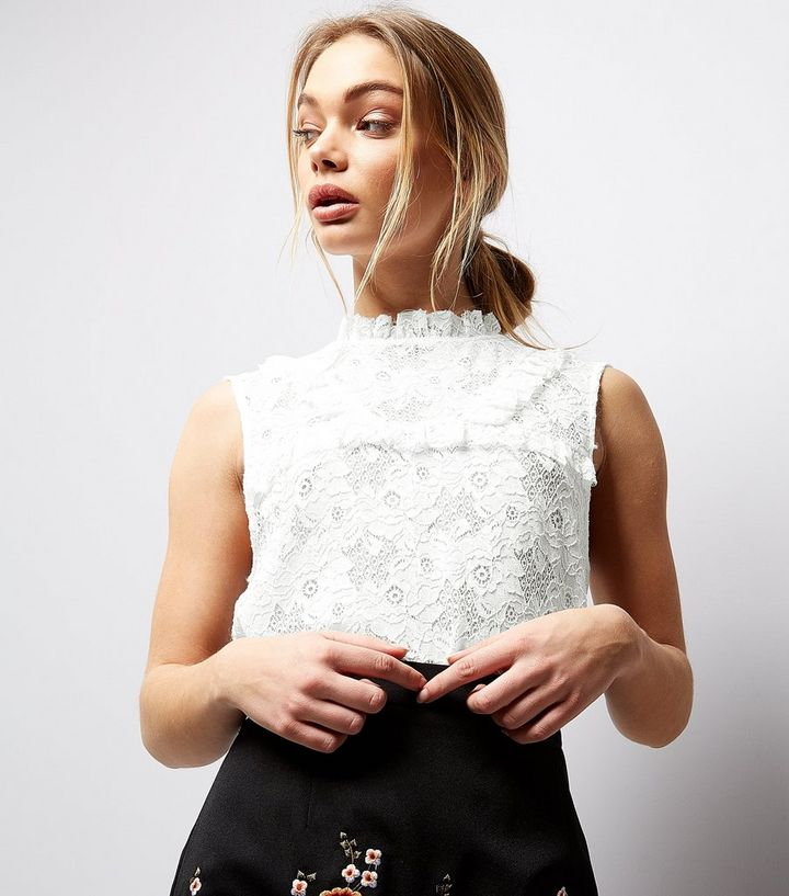 a6c78620c White Lace Frill Trim High Neck Top Add to Saved Items Remove from Saved  Items