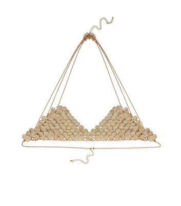 Gold Disc Bikini Bralet Body Chain New Look
