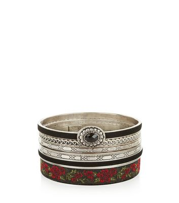 6 Pack Silver Floral Bangle Pack New Look