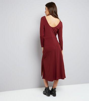 Burgundy Long Sleeve Skater Midi Dress New Look