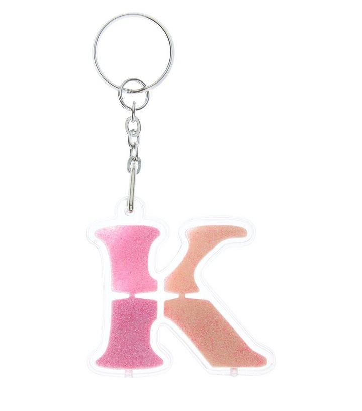 Orange Glitter K Initial Keyring  796e34e110