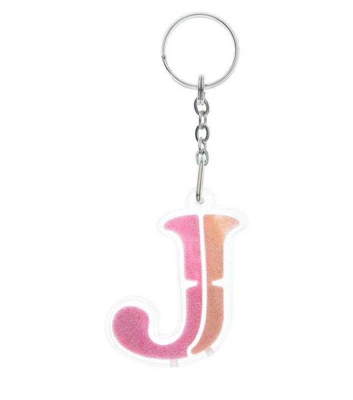 Orange Glitter J Initial Keyring  008a454710