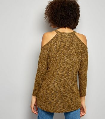 Green Cold Shoulder Long Sleeve Top New Look