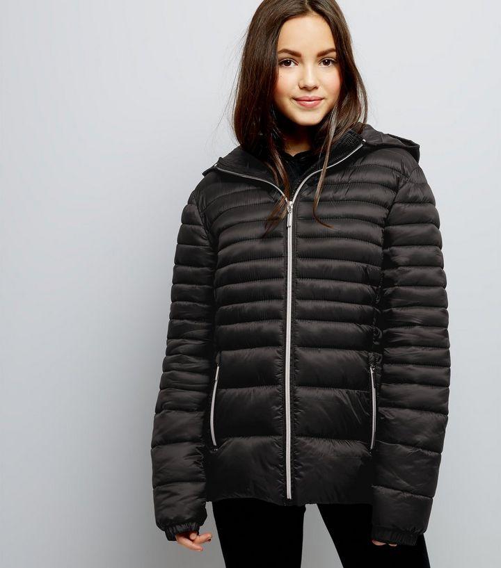 58be9b52e Teens Black Lightweight Puffer Jacket