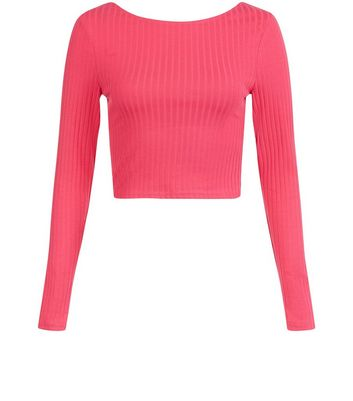 Bright Pink Cross Strap Back Ribbed T-Shirt New Look