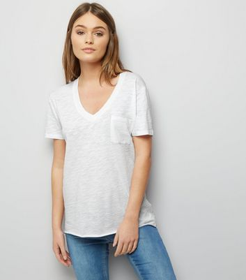White Organic Cotton V Neck T-Shirt New Look