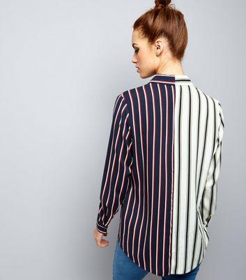 Petite White Spliced Stripe Shirt New Look