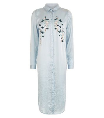 Blue Vanilla Blue Floral Embroidered Longline Shirt New Look