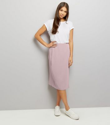 Mid Pink Pinstripe Print Wrap Front Skirt New Look