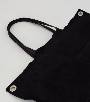 Black Suede Stitch Detail Tote Bag New Look
