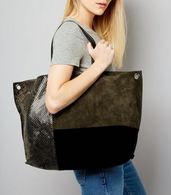 Khaki Suede Colour Block Tote Bag New Look