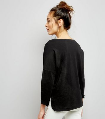 Black 3/4 Sleeve Top New Look