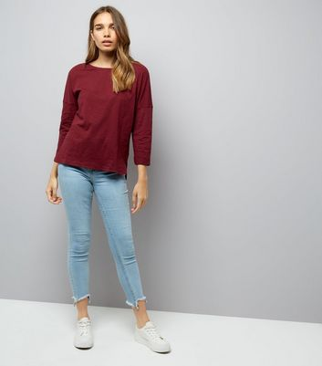 Burgundy 3/4 Sleeve Top New Look