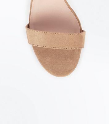 Wide Fit Mink Suedette Cross Strap Side Heels New Look