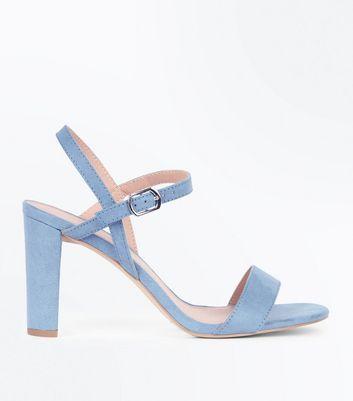Wide Fit Pale Blue Suedette Cross Strap Side Heels New Look