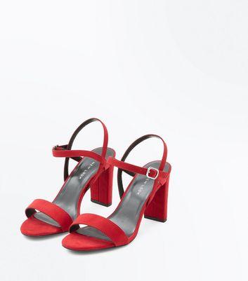 Wide Fit Red Suedette Cross Strap Side Heels New Look