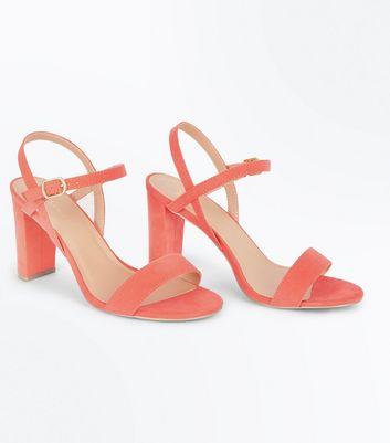 Wide Fit Coral Suedette Cross Strap Side Heels New Look