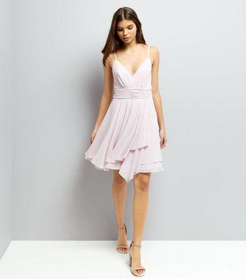 Light Purple Asymmetric Hem Chiffon Prom Dress New Look
