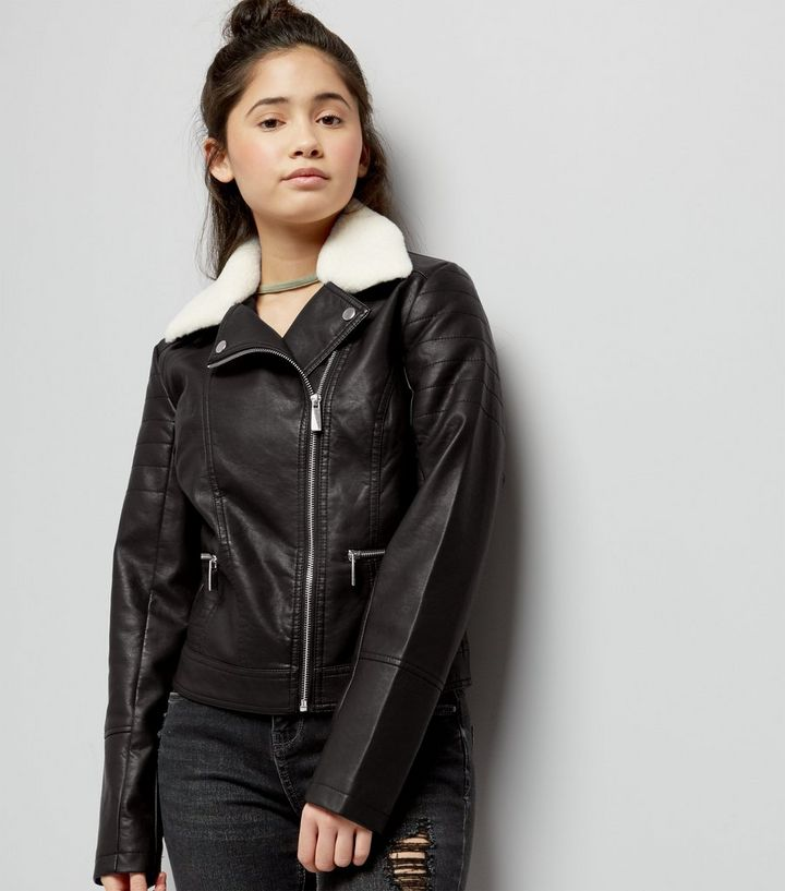 619c87c3f Teens Black Faux Fur Trim Leather-Look Jacket