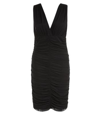 Black Ruched Front V Neck Bodycon Dress New Look