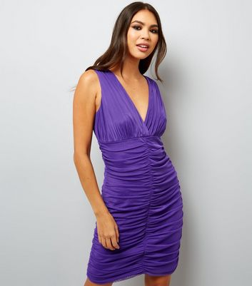 Purple V Neck Ruched Bodycon Dress New Look
