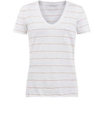 White Stripe Organic Cotton V Neck T-Shirt New Look