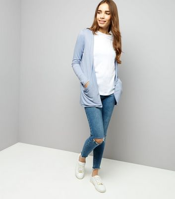 Pale Blue Double Pocket Boyfriend Cardigan New Look