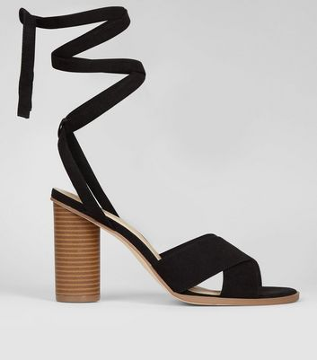 Black Suedette Tie Up Contrast Heeled Sandals New Look