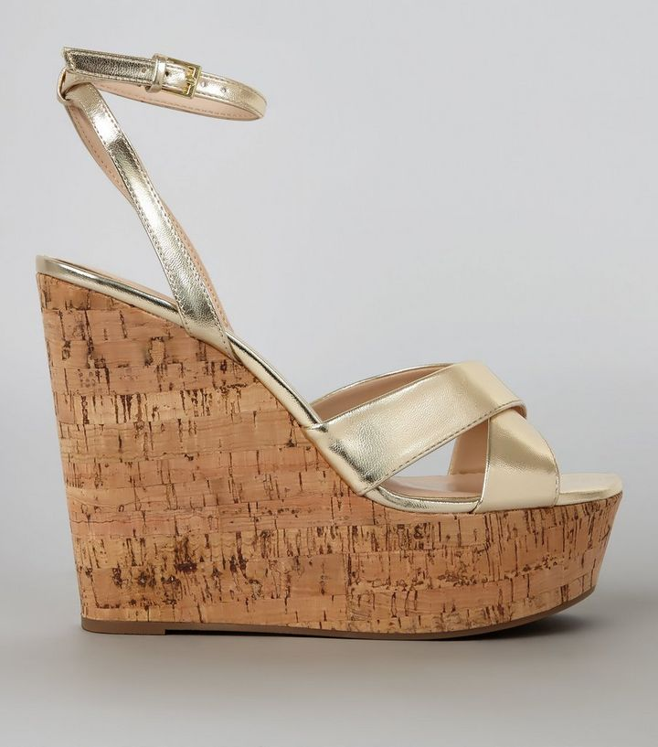 73e3566cbb7 Gold Cross Strap Cork Wedge Heels Add to Saved Items Remove from Saved Items