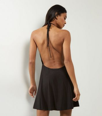 Motel Black Plunge Halter Neck Dress New Look