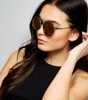 Brown Tortoiseshell Round Mirrored Sunglasses New Look