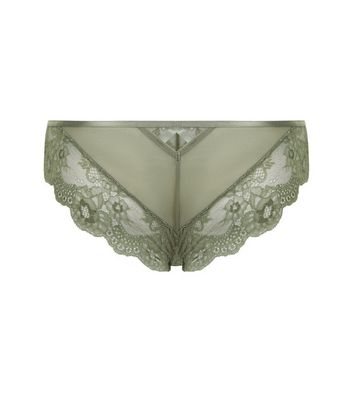 Green Lace Strappy Back Brazilian Briefs New Look