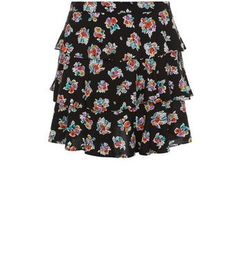 Motel Black Floral Print Tiered Skirt New Look