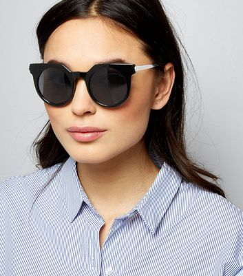 Black Round Cat Eye Sunglasses New Look