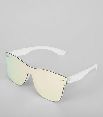 Silver Large Mirror Rimless Sunglasses New Look