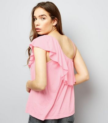 Bright Pink Off the Shoulder Frill Trim Top New Look