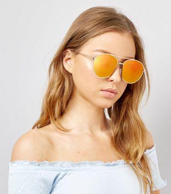 Gold Mirrored Pilot Sunglasses New Look