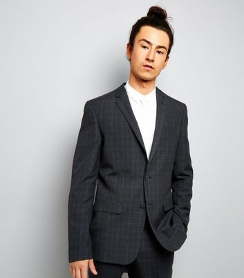 Navy Check Suit Jacket New Look