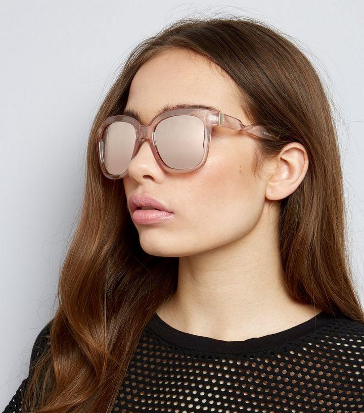 00dc59b83b1f Clear Frame Mirrored Sunglasses