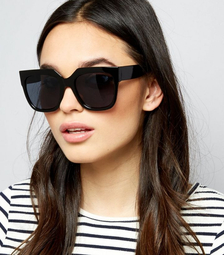 7a0537b91d0 Black Flat Top Oversized Sunglasses