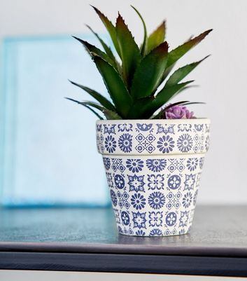 Pot A Fleurs Artificielles Bleu Marine A Imprime Mosaique New Look