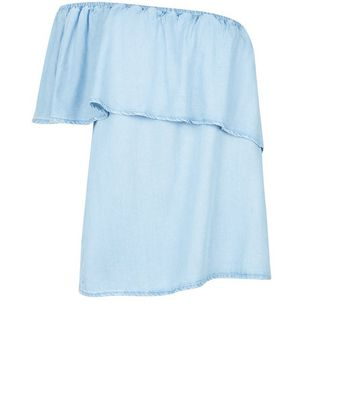 Blue Asymmetric Frill Trim Bardot Neck Top New Look