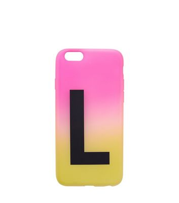 Pink and Yellow Ombre L Initial Phone Case New Look