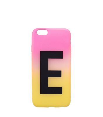 Pink and Yellow Ombre E Initial Phone Case New Look