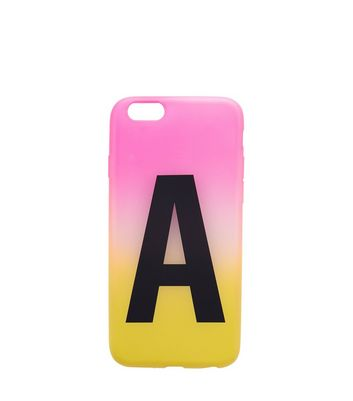 Pink and Yellow Ombre A Initial Phone Case New Look