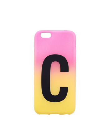 Pink and Yellow Ombre C Initial Phone Case New Look